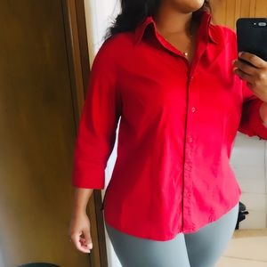 Apostrophe women's red 3/4 sleeve dress top